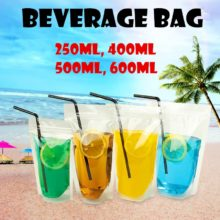 100pcs 250ml/400ml/500ml/600ml High Clear Summer Beverage Bag Transparent Self-sealed Juice Zipper Packaging Party Beverage Bag