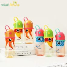 Wind flower Kids Cartoon Animal Plastic Sippy Water Bottle With A Rope To Carry And Prevent Leakage Plastic Bottle for Water
